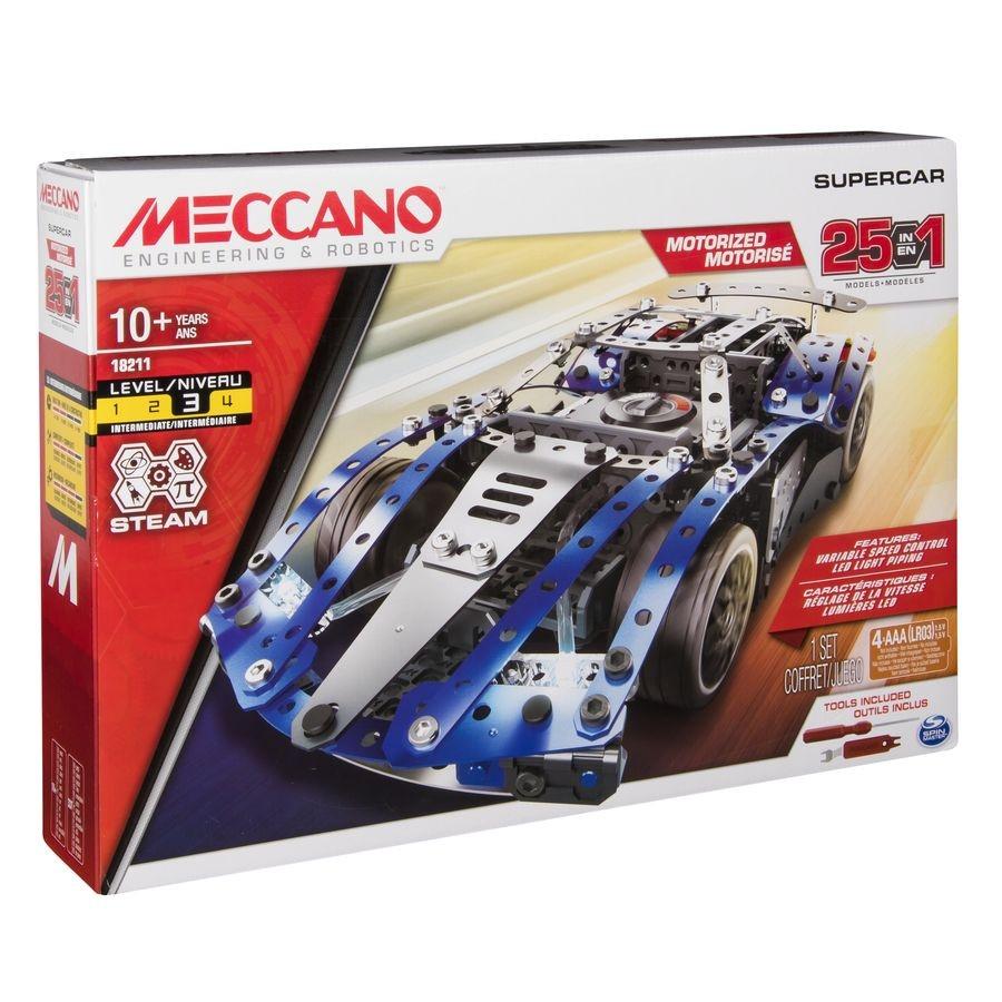 6044495 SUPERCAR 25 MODELES MOTORISES MECCANO BOITE