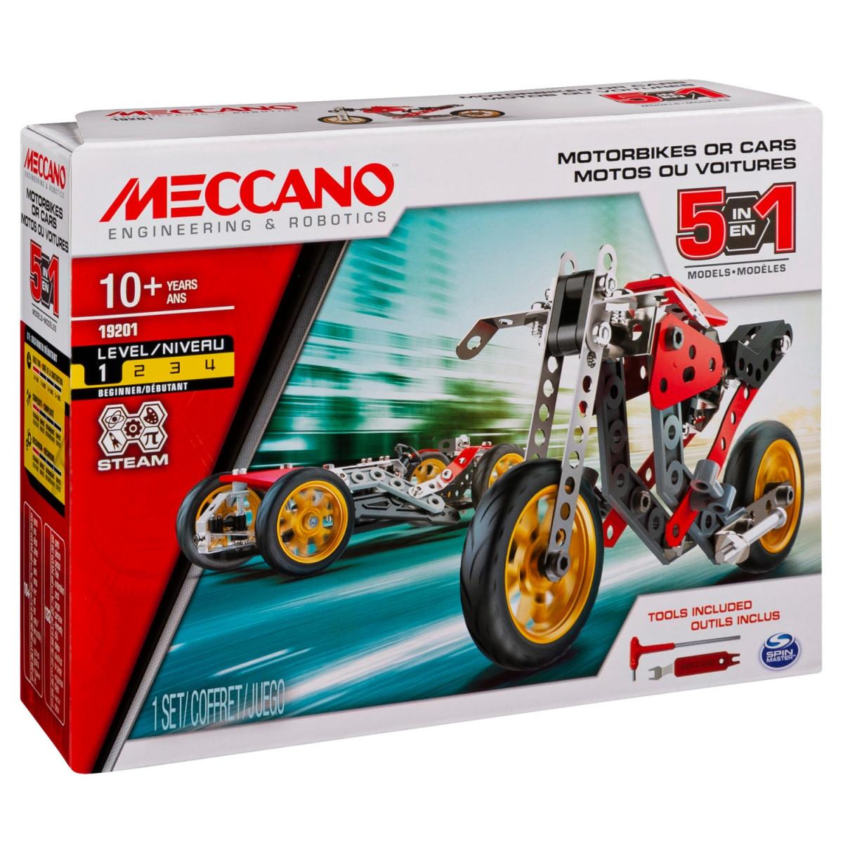 6053371 VOITURE ET MOTO 5 MODELES MECCANO BOITE